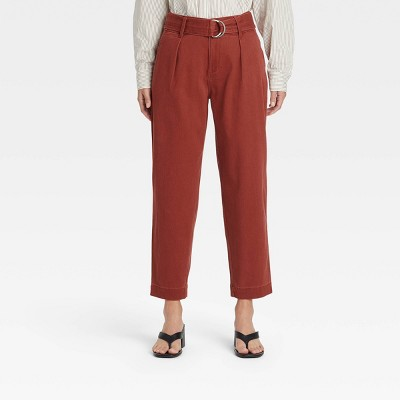 Women's High-Rise Tapered D-Ring Belted Ankle Pants - A New Day™