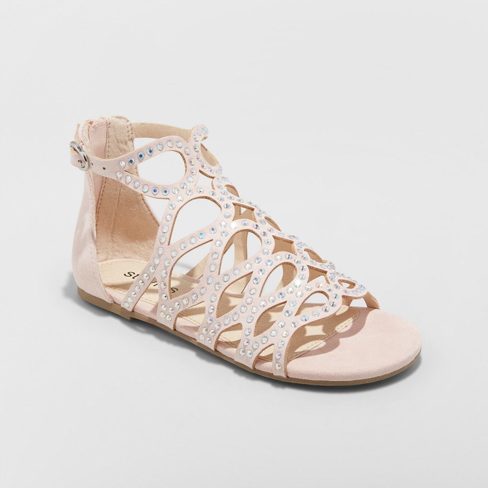 Girls' Sparkle Caged Gladiator Sandals - Stevies Blush 3, Pink