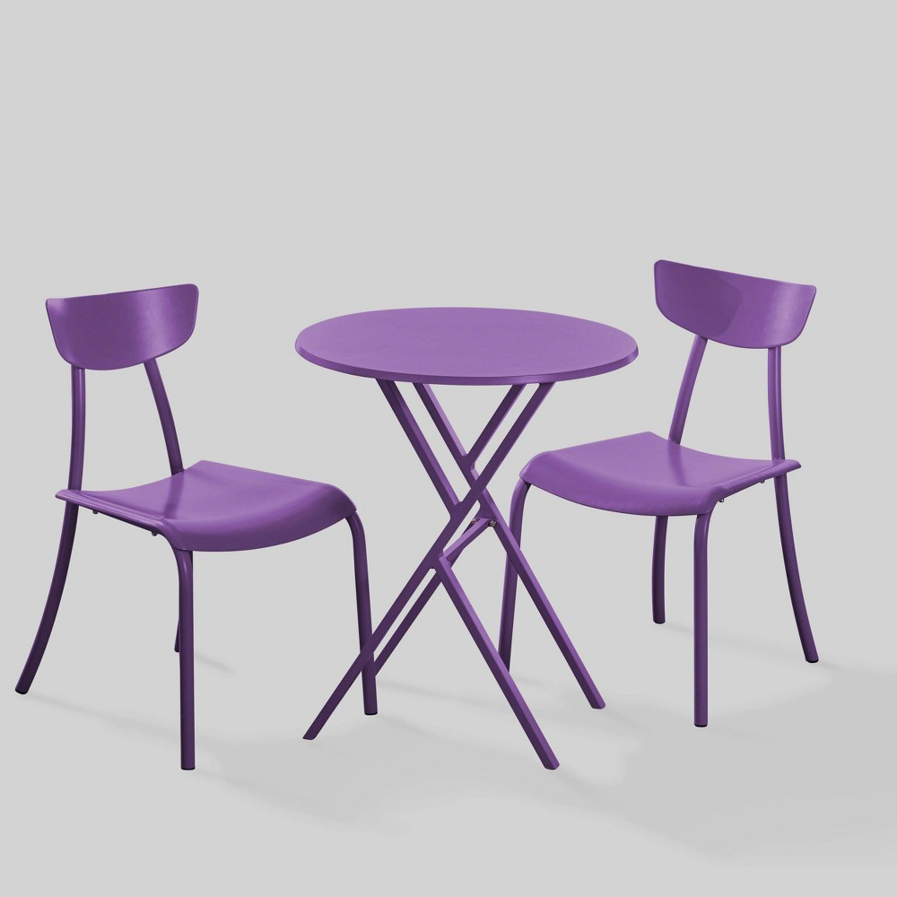 Taro 3pc Patio Bistro Set - Matte Purple - Christopher Knight Home