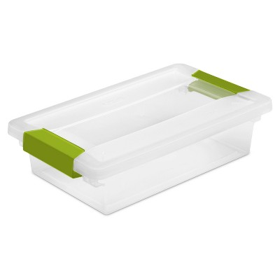 Sterilite Small Clip Box Clear with Green Latches