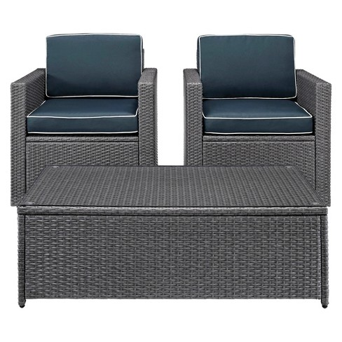 Palm Harbor 3pc All-Weather Wicker Patio Set - Gray/Navy - Crosley : Target - Palm Harbor 3pc All-Weather Wicker Patio Set - Gray/Navy - Crosley