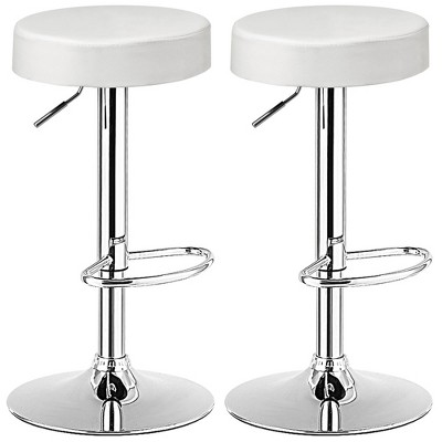 Costway Set of 2 Round Bar Stool Adjustable Swivel Pub Chair w/ Footrest White\Red\Black
