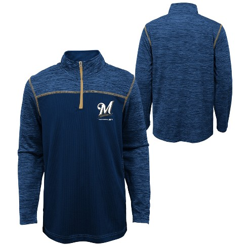 MLB Milwaukee Brewers Boys' In the Game 1/4 Zip Sweatshirt - image 1 of 3