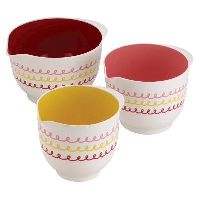 Cake Boss 3 Piece Countertop Accessories Icing Melamine Mixing Bowl Set