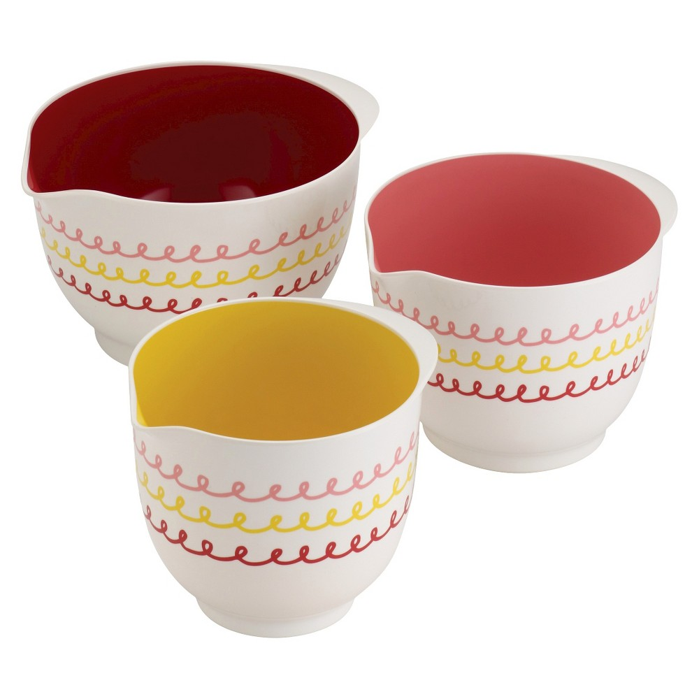 Image of Cake Boss 3 Piece Countertop Accessories Icing Melamine Mixing Bowl Set