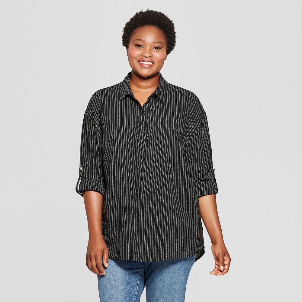 Women's Plus Size Striped Long Sleeve Popover Flannel Button-Down Shirt - Universal Thread Black 2X