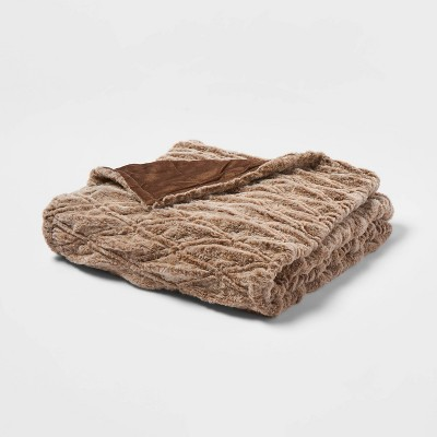 "55"" x 80"" Ruched Faux Fur Bed Throw Brown - Threshold™"