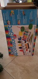 Melissa Doug Easel Accessory Set Paint Cups Brushes Chalk Paper Dry Erase Marker