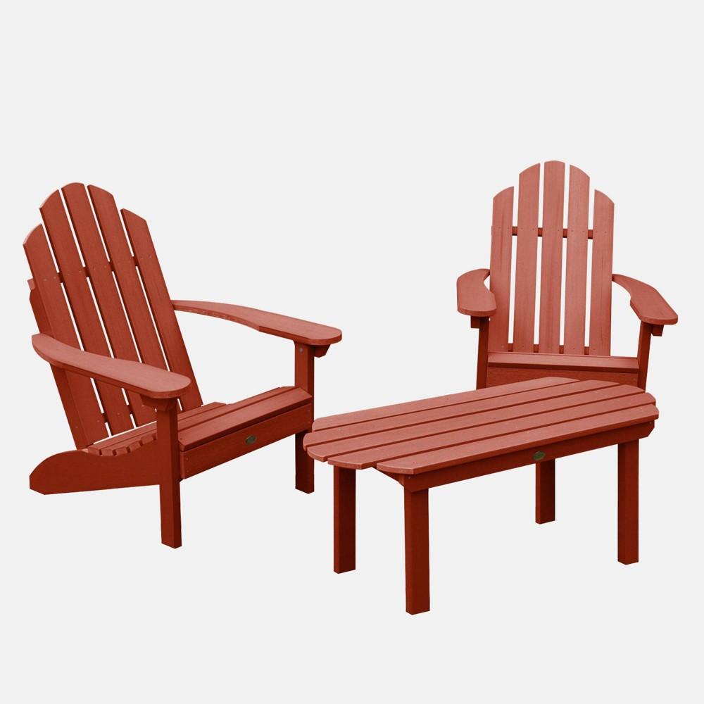 Image of 3pc Classic Westport Adirondack Conversation Patio Set Rustic Red - highwood