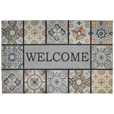 "1'11""x2'11"" Doorscapes Estate Mat Welcome Patina Tiles Gray - Mohawk"