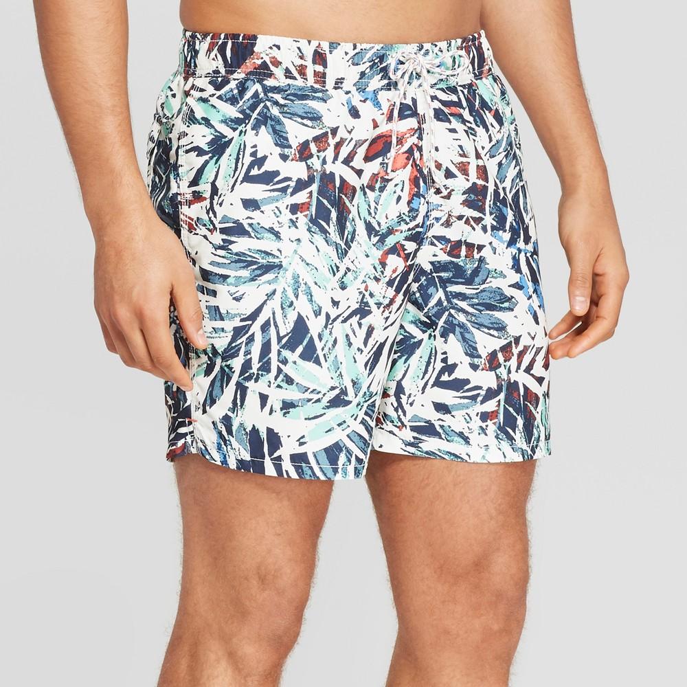 Men's 6 Leaf Patterned Swim Trunks - Goodfellow & Co White M