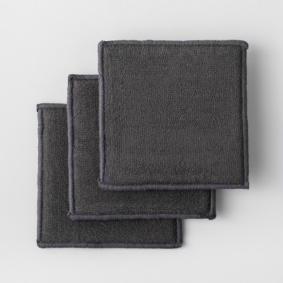 3pk Solid Scrubbies Dark Gray - Made By Design™