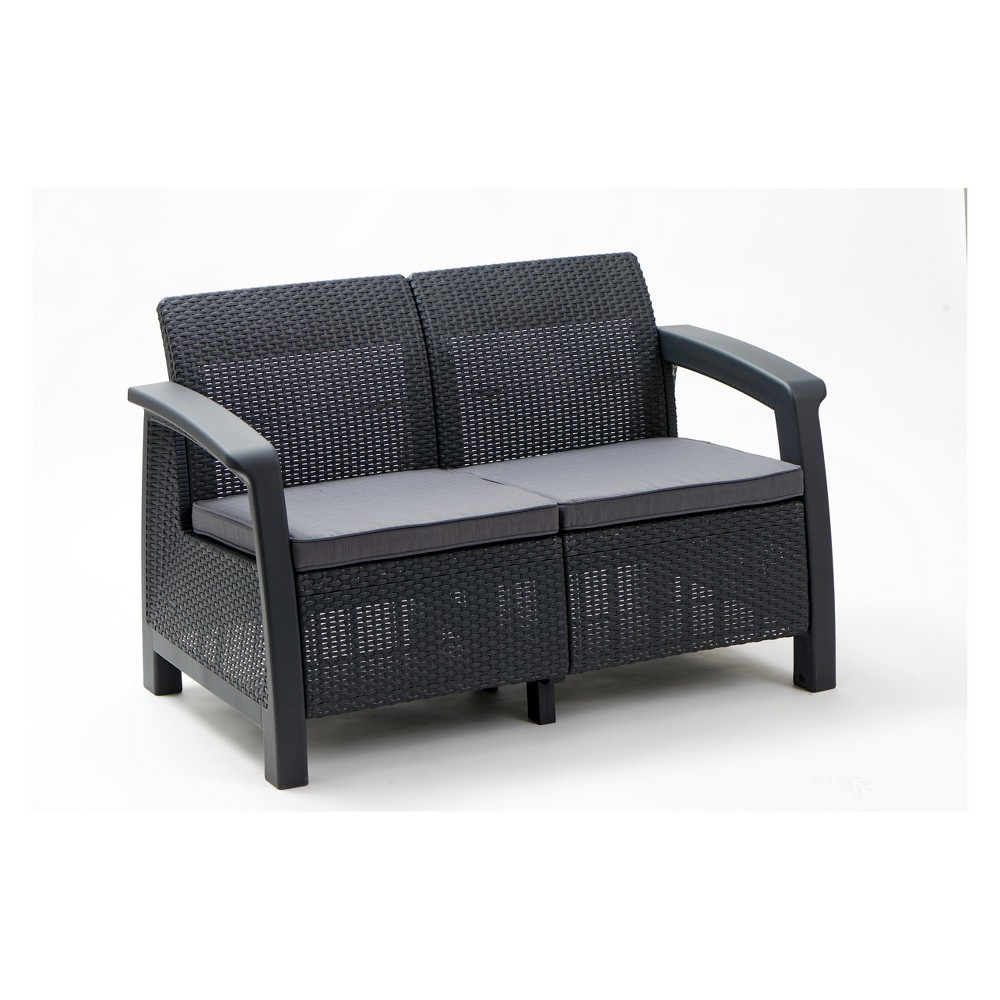 Image of Bahamas Outdoor Resin Patio Loveseat with Cushions Graphite - Keter