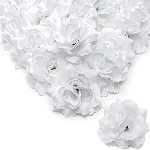 """60pcs 4"""" Artificial Rose Flower Heads Silk Flower Heads for Engagement, DIY Handicrafts, Party & Wedding Decorations, White - image 1 of 3"""