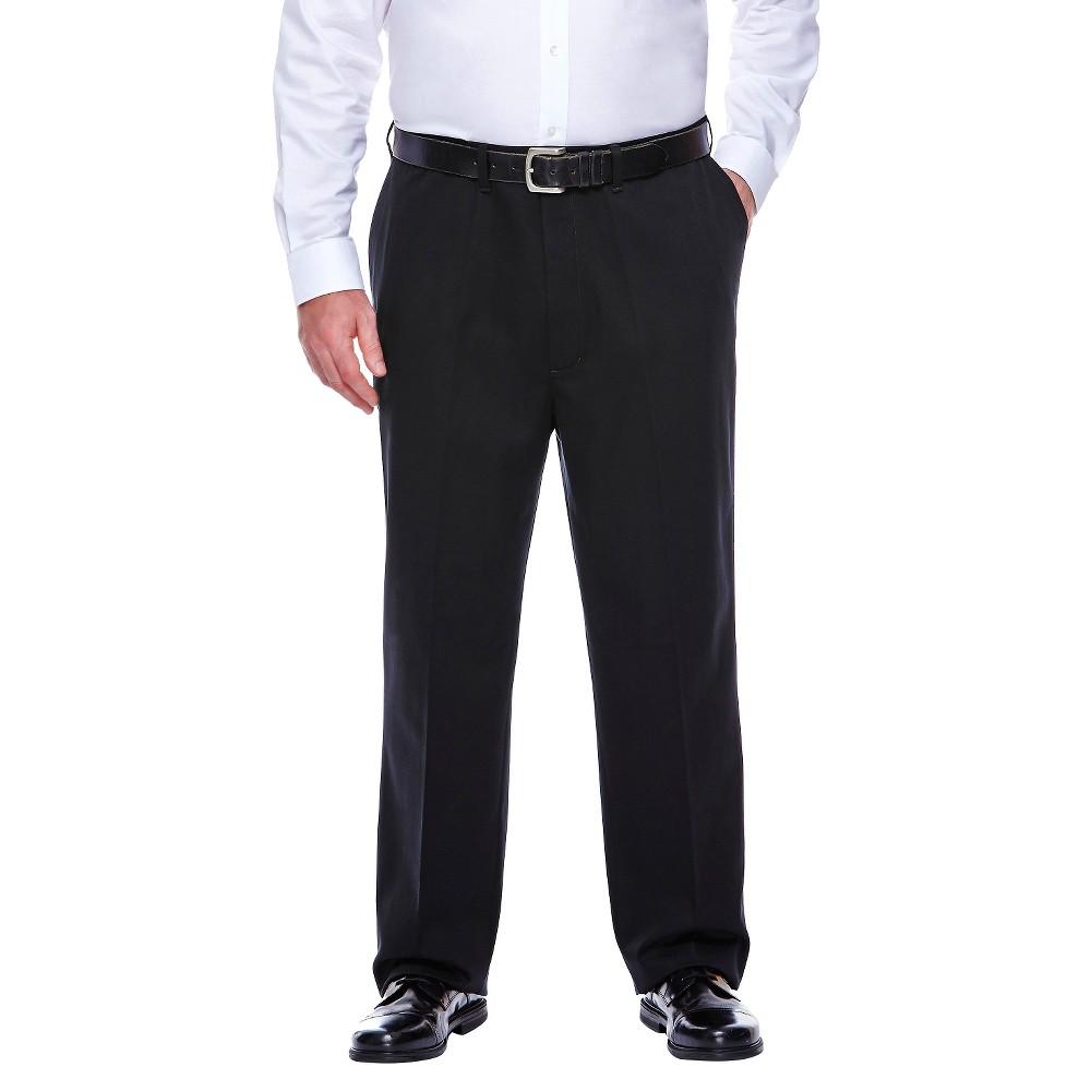 Haggar H26 - Men's Big & Tall No Iron Classic Fit Pants Black 52x32