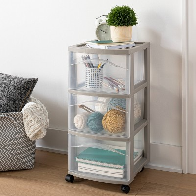 3 Medium Drawer Storage Cart Light Gray - Room Essentials™