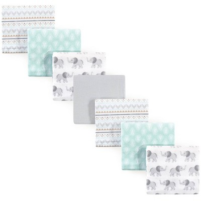 Hudson Baby Unisex Baby Cotton Flannel Receiving Blankets Bundle - Gray Elephant One Size