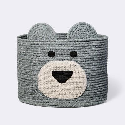 Decorative Basket - Cloud Island™ XL Coiled Bear Face Gray