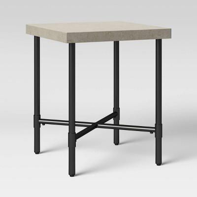 Faux Stone and Metal Patio Accent Table - Threshold™