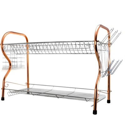 Better Chef 2-Tier 22 in. Chrome Plated Dish Rack in Copper