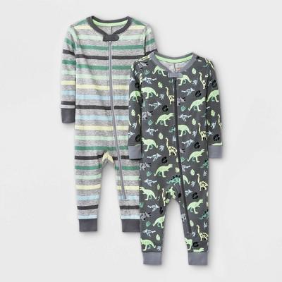 Baby Boys' 2pk Striped Dino Snug Fit Pajama Romper - Cat & Jack™ Green