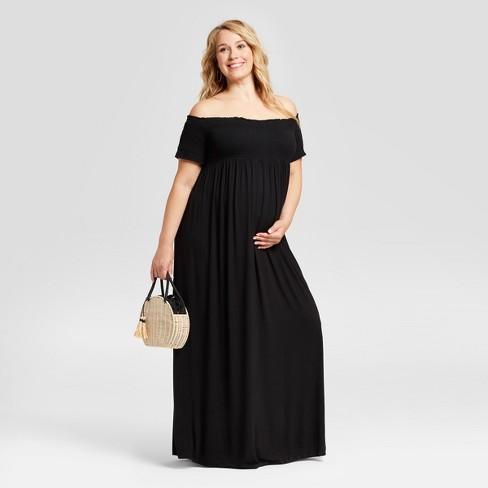 Maternity Plus Size Smocked Maxi Dress - Isabel Maternity by Ingrid &  Isabel™ Black