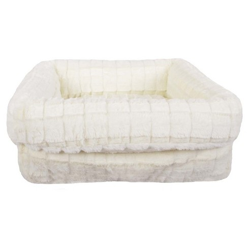 Squar Faux Fur Pet Bed - Radiant Gray/Cream - Small - Boots & Barkley™ - image 1 of 2