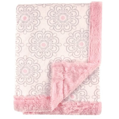 Hudson Baby Infant Girl Plush Blanket with Furry Binding and Back, Modern Floral, One Size