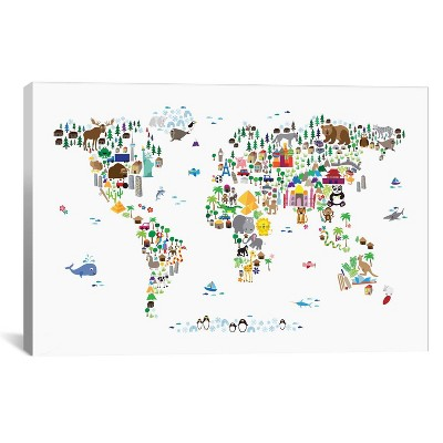 "26"" x 40"" Animal Map of The World by Michael Tompsett Unframed Wall Canvas Print White - iCanvas"