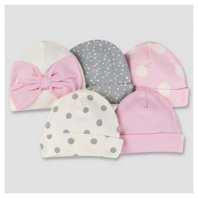 Baby Girls' 5pk Cap Set - Bunny 0-6M - Gerber®