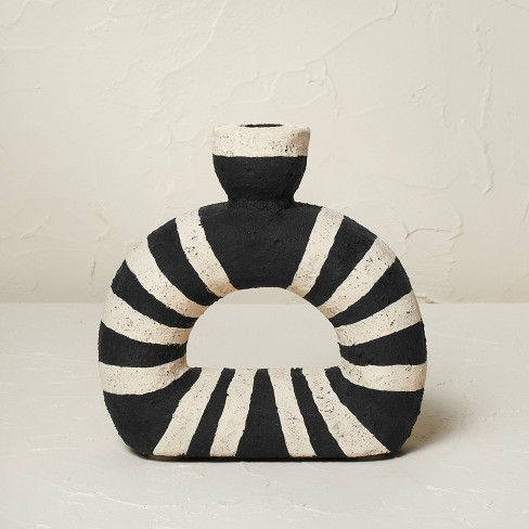 """6.5"""" x 6.5"""" Terracotta Striped Taper Candle Holder - Opalhouse™ designed with Jungalow™ - image 1 of 4"""