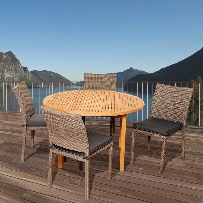 Sarasota 5 Piece Teak/Wicker Rectangular Patio Dining Furniture Set