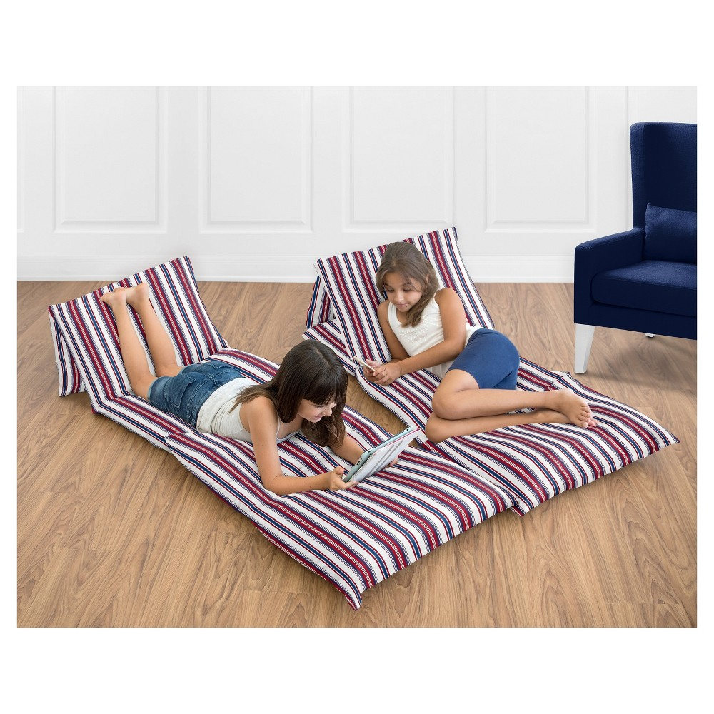 Redy Striped Floor Pillow Lounger Cover (Pillows Not Included) - Sweet Jojo Designs, White
