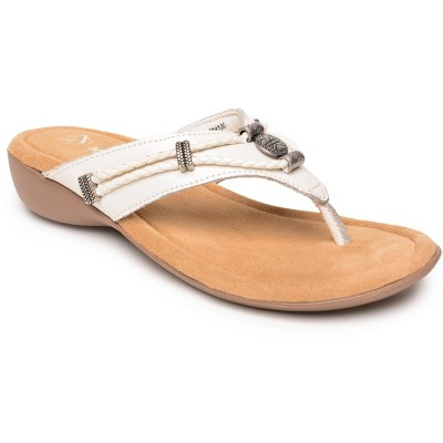 Minnetonka Women's Leather Silverthorne 360 Thong Sandals