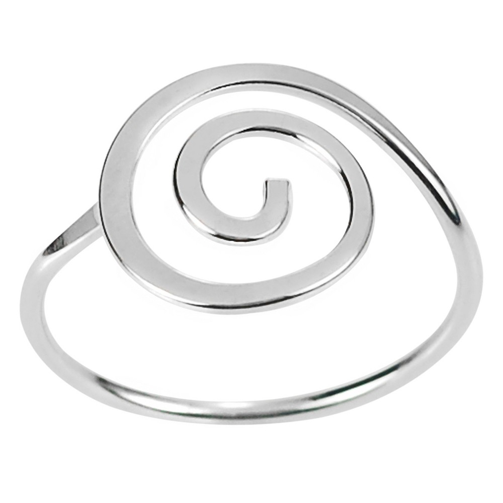 Women's Journee Collection Handcrafted Spiral Ring in Sterling Silver - Silver, 5