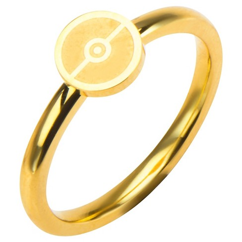 Women's Pokémon™ Poké Ball Stainless Steel Gold IP Ring - image 1 of 2