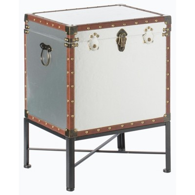 Vintiquewise Silver and Brown Trimmed Faux Leather Lockable Square Lined Storage Trunk, End Table on Metal Stand