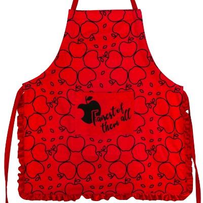 Seven20 Disney Snow White Apple Print Red Ruffled Adult Kitchen Apron