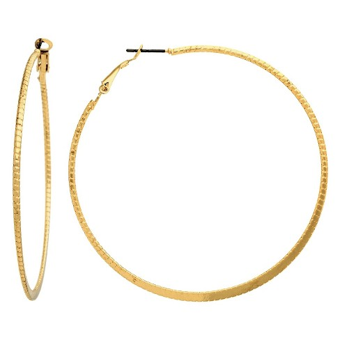 Flattened Bottom Clutchless Hoop Earring - Gold - image 1 of 1