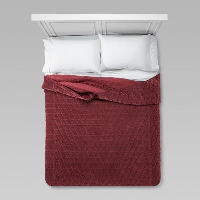 Burgundy Vintage Wash Velvet Quilt (Full/Queen)- Threshold™