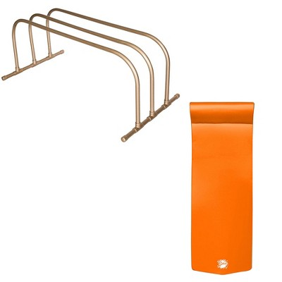 TRC Recreation PVC Pool Storage Drying Rack w/ 70 Inch Lounger Float Orange
