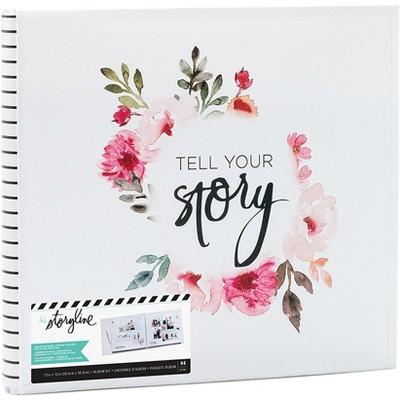 """Heidi Swapp Storyline2 Post Bound Album 12""""X12""""-White Floral"""