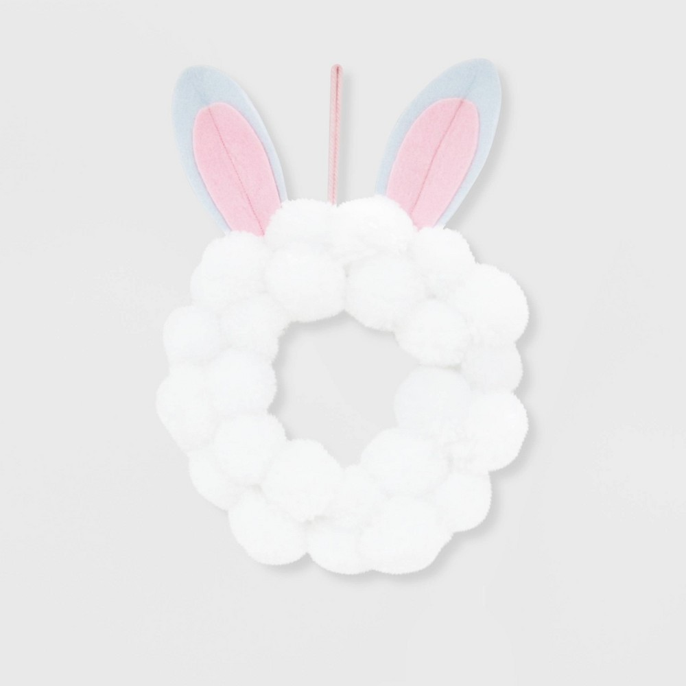 Pom Pom Easter Wreath with Bunny Ears White - Spritz