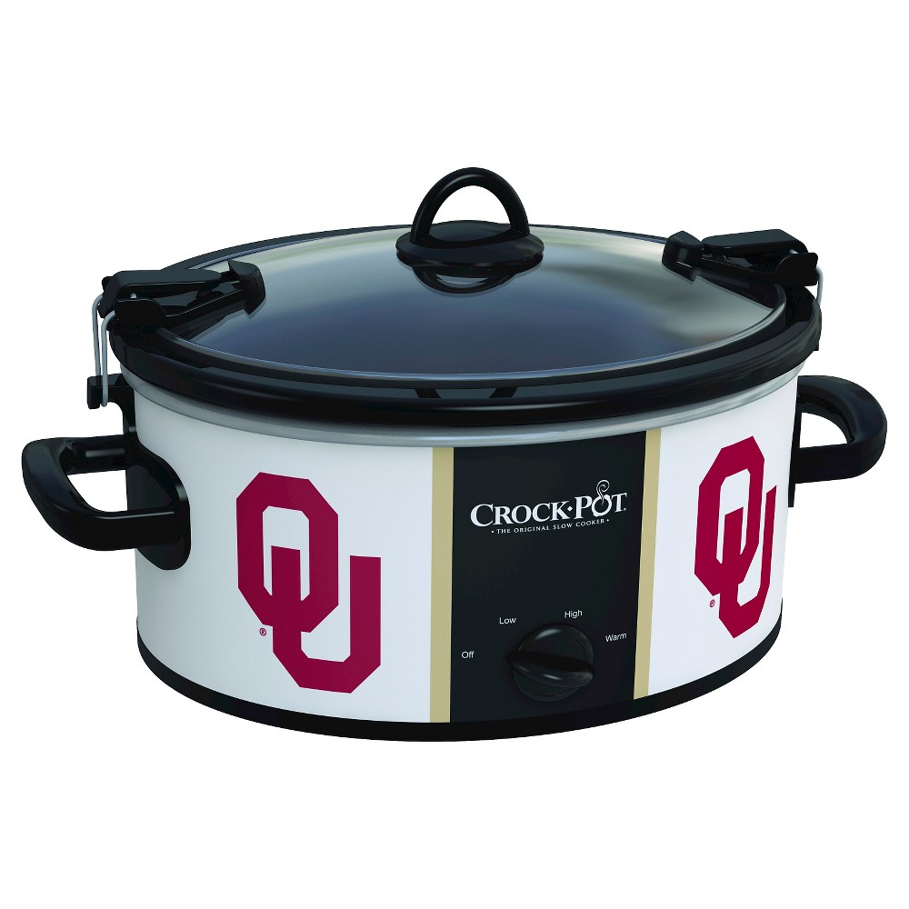 Oklahoma NCAA Crock-Pot Cook & Carry Slow Cooker, SCCPNCAA600-Ous, Oklahoma White The Crock-Pot Cook and Carry Slow cooker is just as convenient at home in the kitchen as it is on the road. The stoneware transfers easily from your slow cooker to the table or refrigerator. Both the stoneware and the glass lid are dishwasher-safe, making clean-up simple. Crock-Pot Slow Cookers make cooking easy, but the Crock-Pot NCAA Cook and Carry Slow Cooker makes it easy to get your dish from here to there while showing team pride. Color: Oklahoma White.