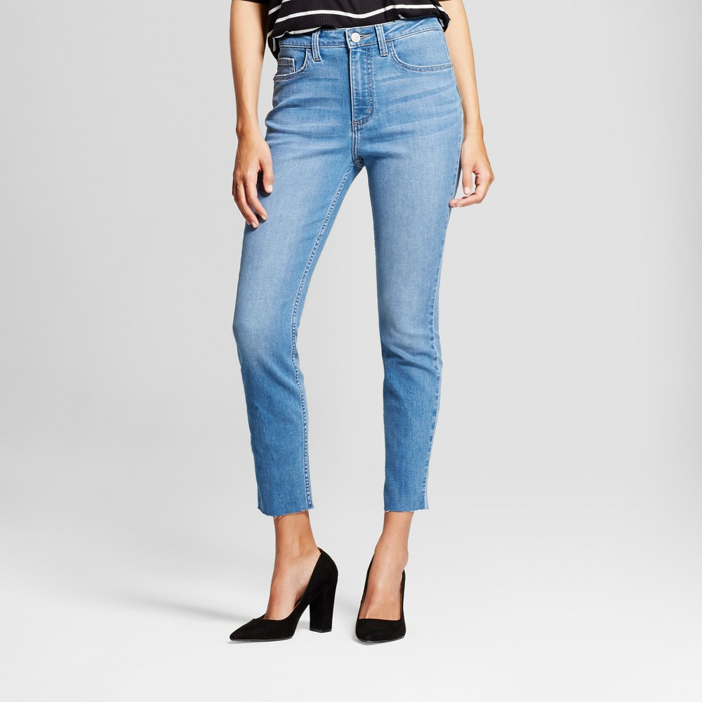 Women's Modern Fit High Rise Raw Hem Skinny Jeans - Crafted by Lee Light Wash 14 Long