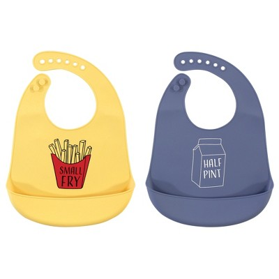 Hudson Baby Infant Silicone Bibs 2pk, Small Fry, One Size