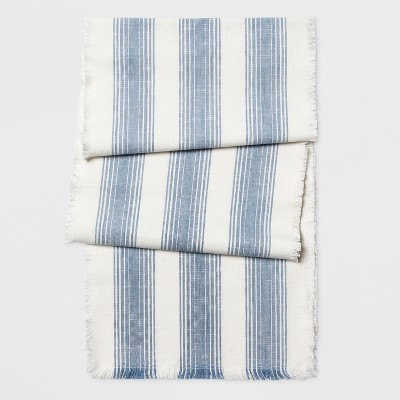 108 x14  Fringe Stripe Runner Woven Blue - Threshold™