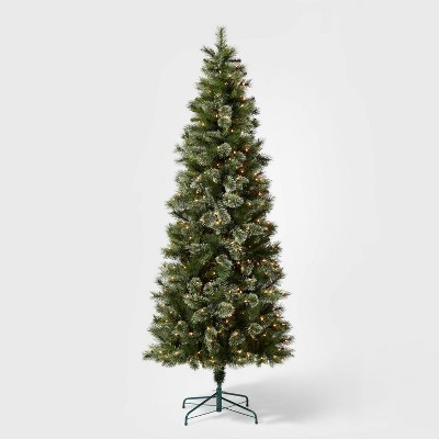 7.5ft Pre-lit Artificial Christmas Tree Slim Virginia Pine with Clear Lights - Wondershop™