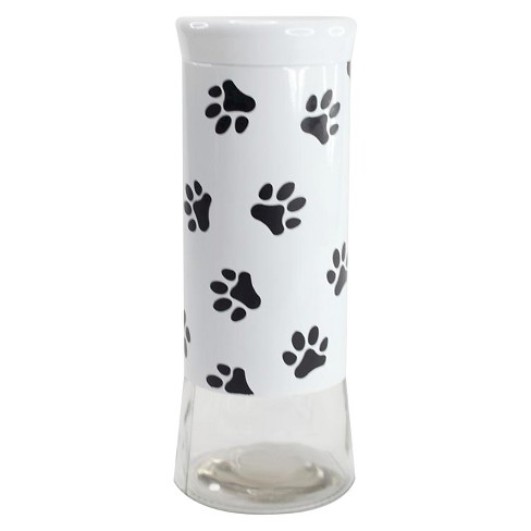 Housewares International 64 Oz Glass Jar with White Background Sleeve with Black Paws - image 1 of 1