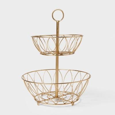Iron Wire 2-Tier Fruit Basket Gold - Threshold™